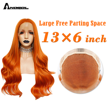 ANOGOL 13x6 Big Lace Orange Long Body Wave Synthetic Lace Front Wigs Heat Resistant Fiber 26 inch Natural Hairline For Women