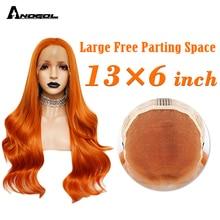 ANOGOL 13x6 גדול תחרה כתום ארוך גוף גל סינטטי תחרה מול פאות חום עמיד סיבי 26 אינץ טבעי קו שיער לנשים