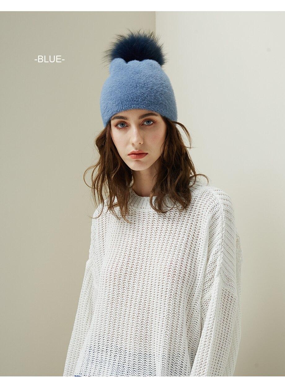 Hat Female Raccoon Hair Ball Beanies Winter Warm Wool Bonnet Pompom Beanies 2018 Fashion Russia Knitted Skullies Cap For Girls (14)