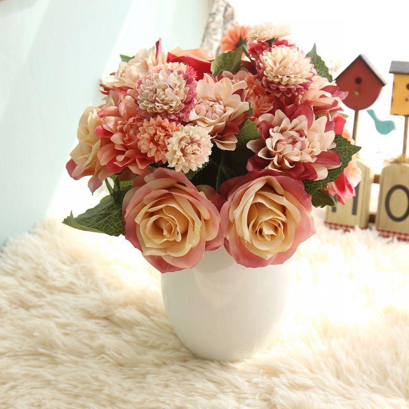 Silke blomma bröllop bukett rosor dahlias Konstgjorda blommor faller - Semester och fester - Foto 4