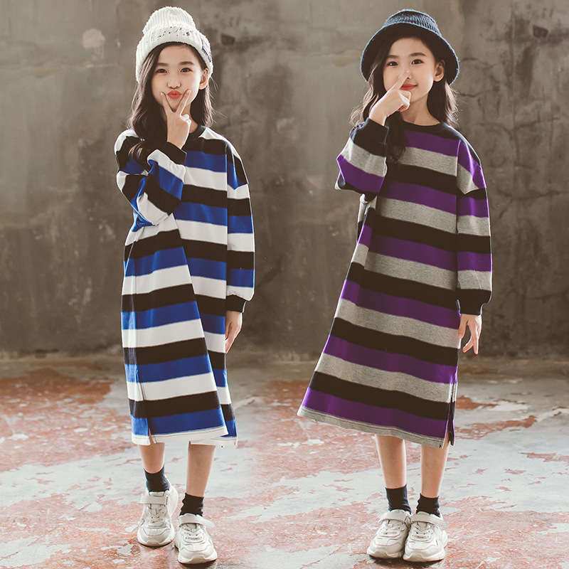 New Teens Girl Dress Spring Autumn Girls Long-sleeved Stripe Dresses Children's Girls Casual Cotton Dress 2-16yrs Teenage CA253