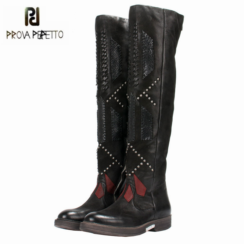 Prova Perfetto 2018 New Patchwork Weave Women Over The Knee Boots Black Thigh High Boots Rivets Studded Platform Flat Boats prova perfetto yellow women mid calf boots fashion rivets studded riding boots lace up flat shoes woman platform botas militares