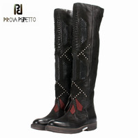 Prova Perfetto 2018 New Patchwork Weave Women Over The Knee Boots Black Thigh High Boots Rivets