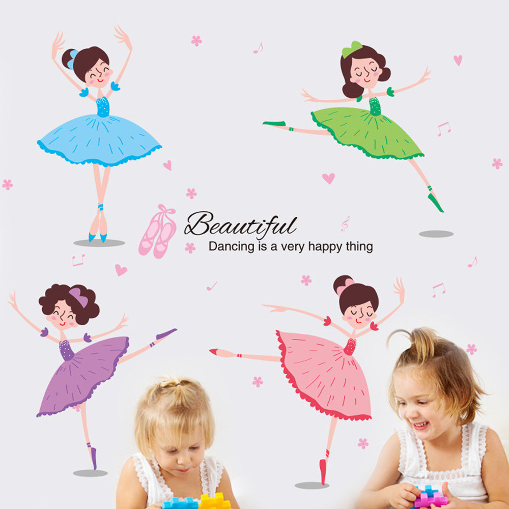 DIY Wall Stickers Dancing Ballet Girls Poster Wall Decals Stickers For Home Decor Living Rooms Wall Decoration Adesivo De Parede
