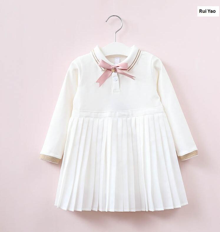 YW31766361 2017 New Baby Girls Dress Fashion Solid Toddler Girl Dress Fleece Worm Full Sleeve Baby Dress Princess Girls Clothes молния для одежды yw market 80 ab 80cm