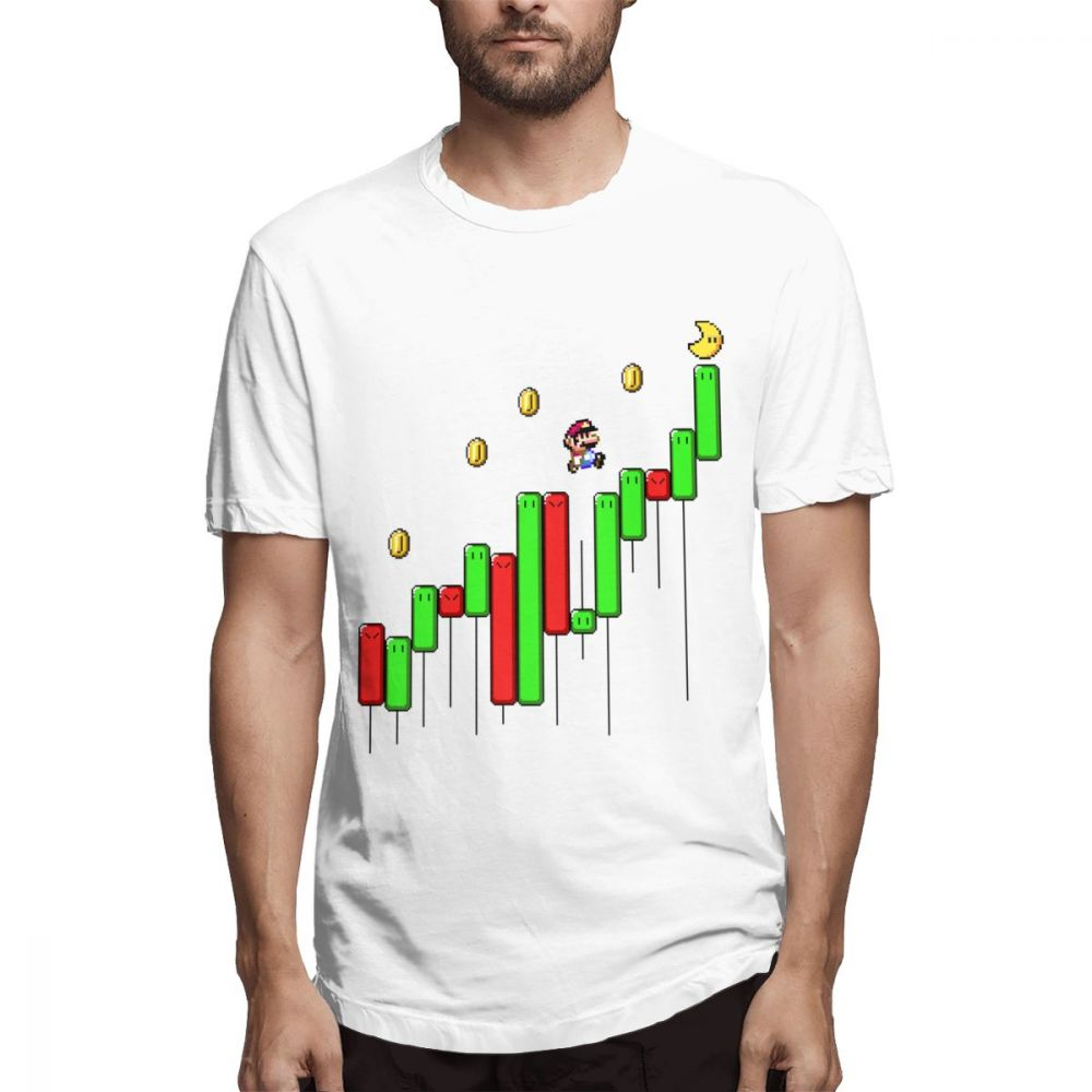 Funny Super Mario Forex Stock Market Currency Trader Investment T Shirt Summer Man 100% Cotton Day Trade Share Stock T-shirt image