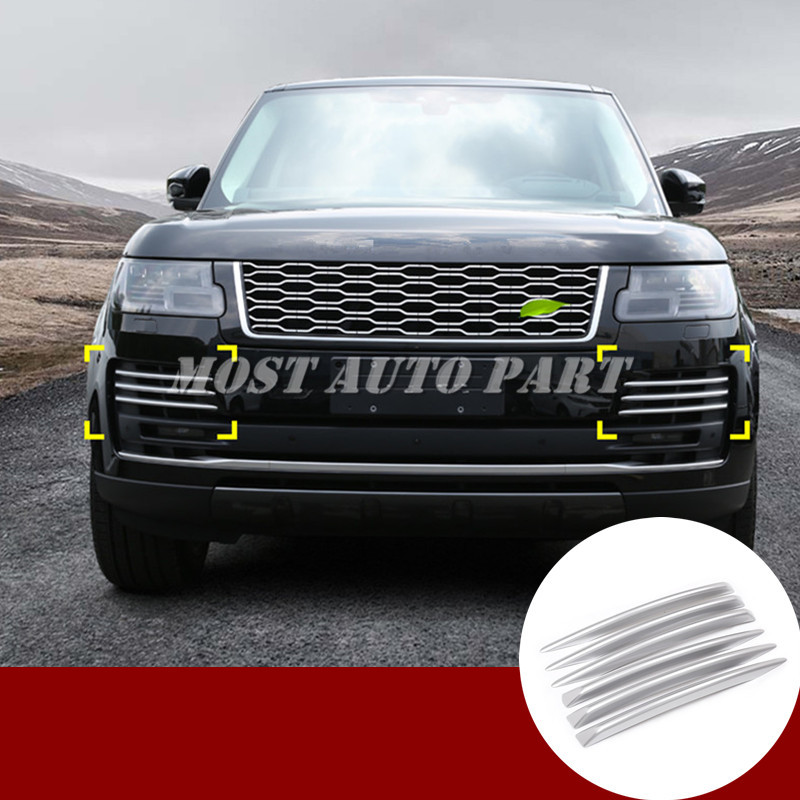 ABS Front Bumper Grille Air Vent Trim Cover For Land Rover Range Rover L405 2018 Silver