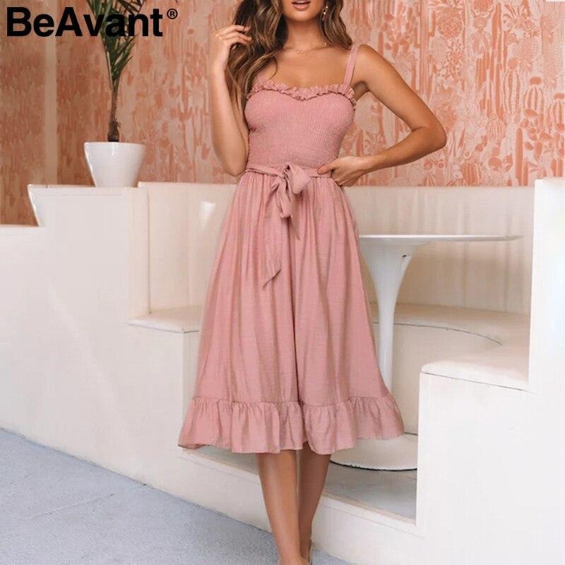 Женское плиссированное платье BeAvant, розовое хлопковое платье средней длины на тонких бретельках с высокой талией