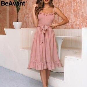 Image 1 - BeAvant elegancka, z falbanami plisowana damska bawełniana sukienka Ruched wysokiej talii letnia sukienka różowe ramiączka Spaghetti kobiece midi sukienka vestidos