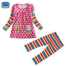 Novatx F2178 + G4801 ensembles enfants fille t-shirt nova enfants bébé vêtements filles t shirt enfants portent polka coton filles casual t chemises