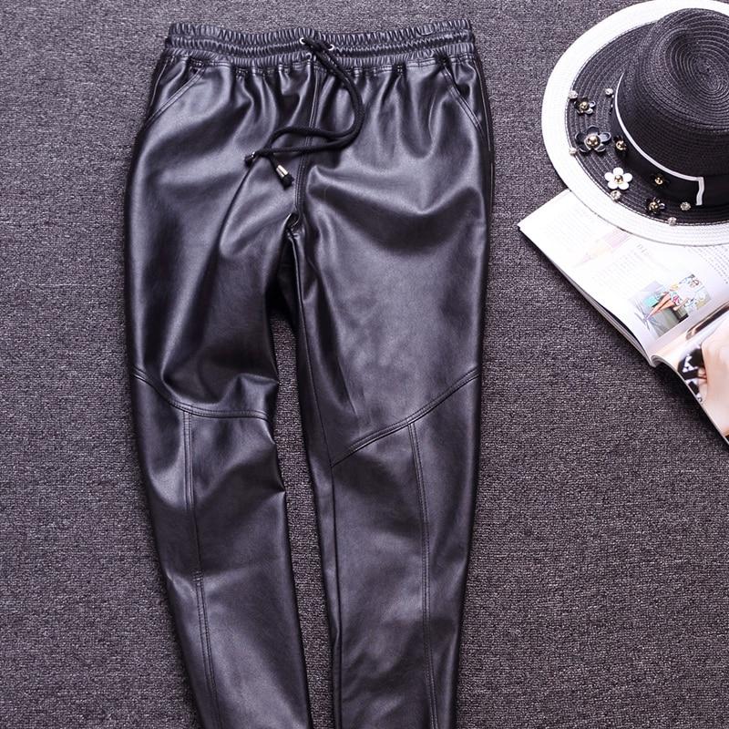 Mode cordon faux cuir décontracté harem pantalon femmes solide noir lâche fit long hiphop rue pantalon pour automne et hiver