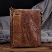 Genuine Leather Men Vintage RFID Blocking Wallet Small Crazy Horse Short Purse