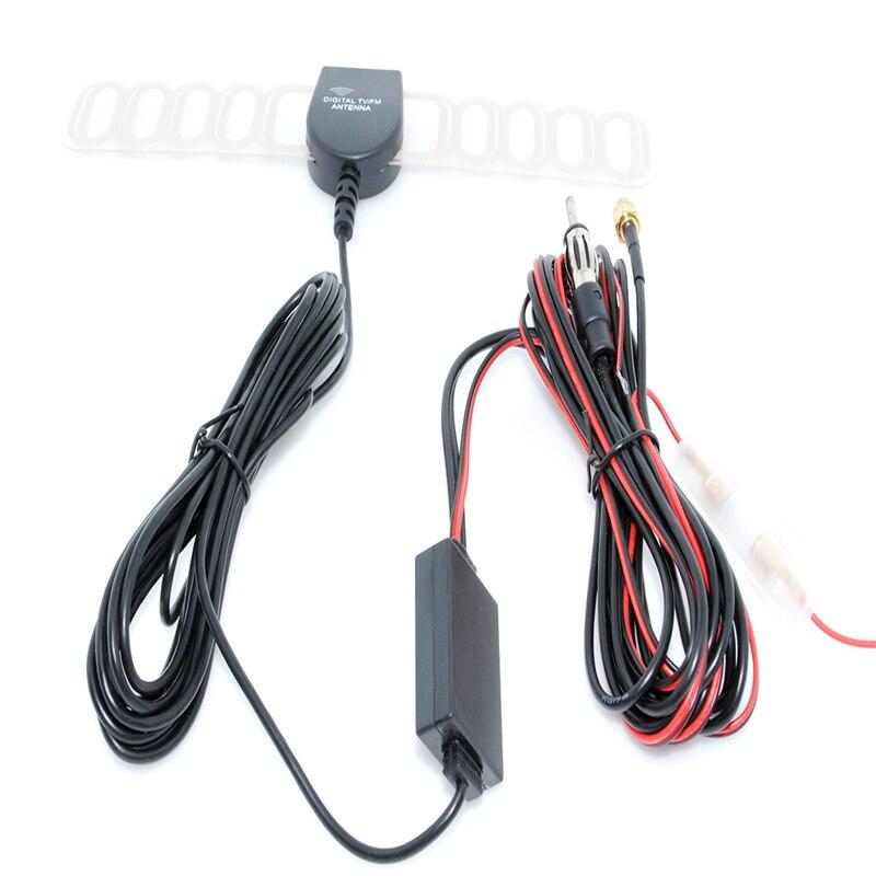 Free shipping New Car Auto TV Booster FM Radio Windshield Mount Digital DVB-T Antenna Aerial SMA+FM Radio Booster Antenna