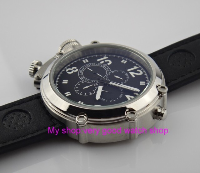 Left-handed model 50mm PARNIS black dial Automatic Self-Wind movement men's watch Multi-function Mechanical watches 201 3