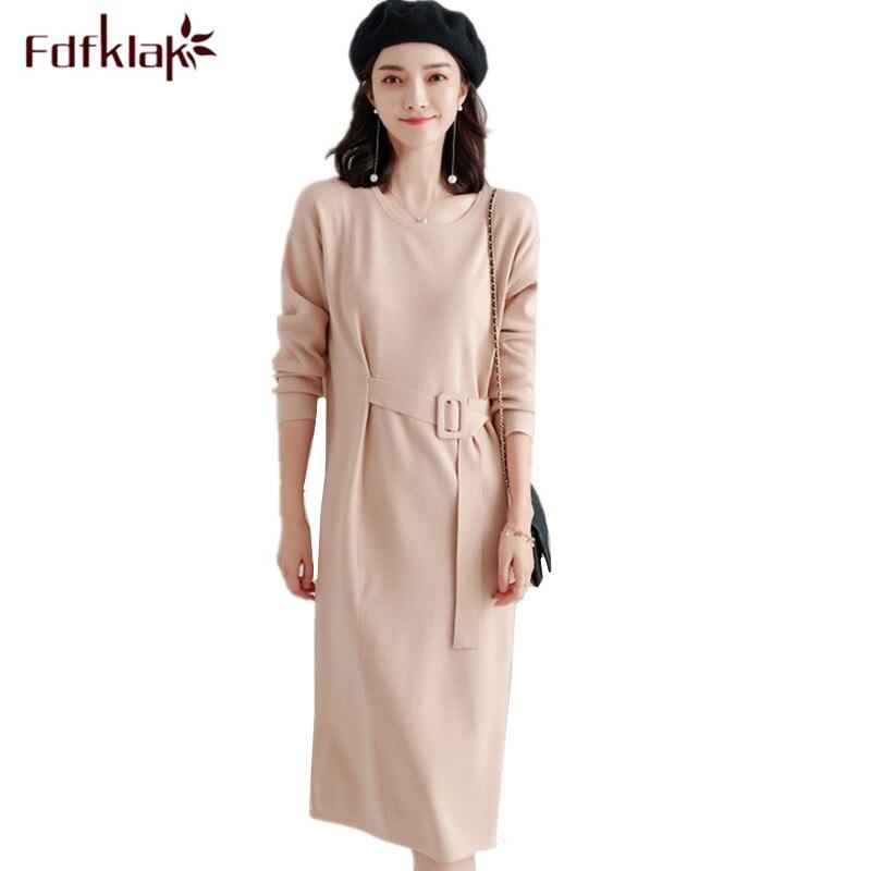 Fdfklak mode nouvelle robe en tricot femmes robes d'hiver femme tricoté pull robe o-cou élégant robes de soirée vestidos femininos