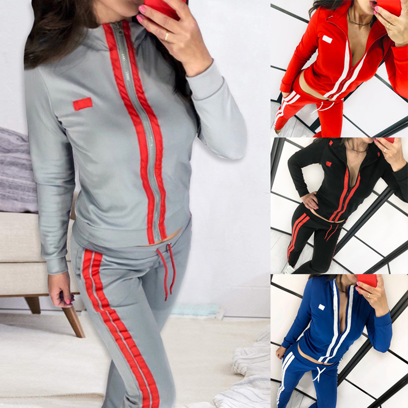 Striped Jumpsuits Women's Casual 2 Pieces Outfits Running Set Fashion Sweatsuits Zipper Tracksuits Long Sleeve Tops Pants Casual