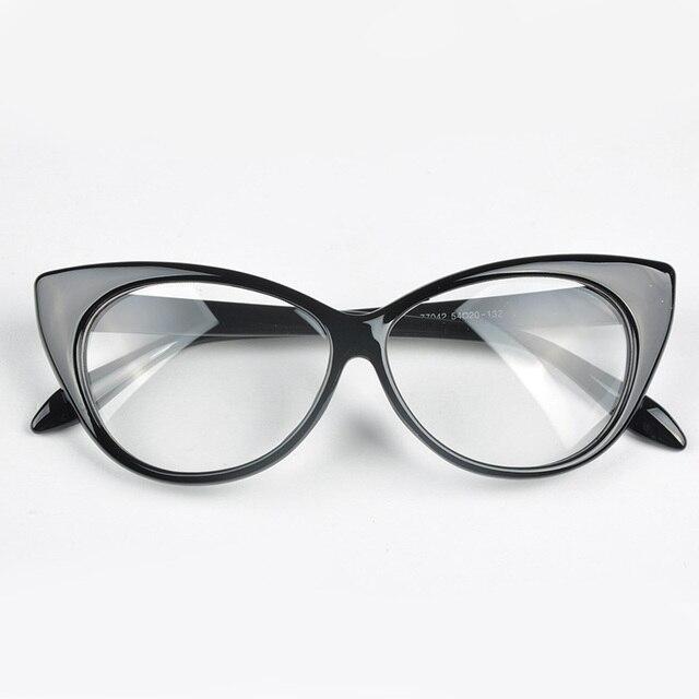 5fcda5a0db063 New Designer Cat Eye Glasses Moda Retro Mulheres Negras Óculos de Armação  Clara Lente Eyewear Vintage