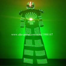 Colorful Led Luminous Stilts Robot Dance Suit Led Growing Ballroom Costume Grand Event Party Led Light Up Performance Clothing
