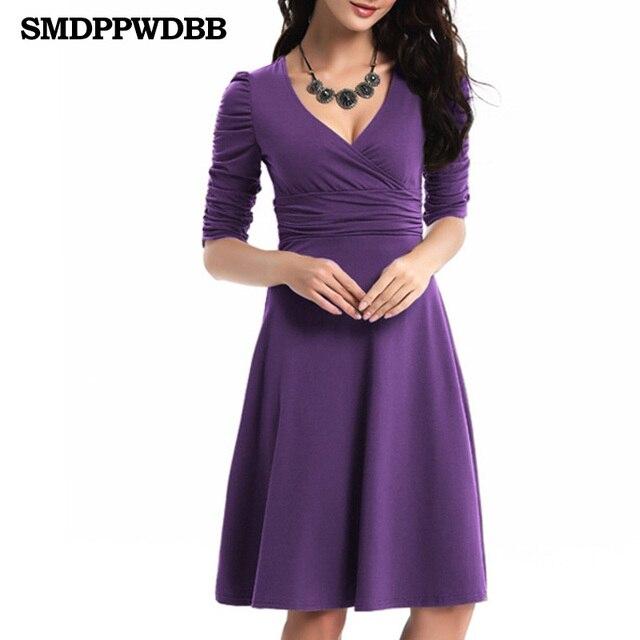 f1ecdeeaa Smdppwdbb mujeres vestido v-cuello elegante Oficina vestido Maternidad  Vestidos rodilla-longitud embarazo ropa