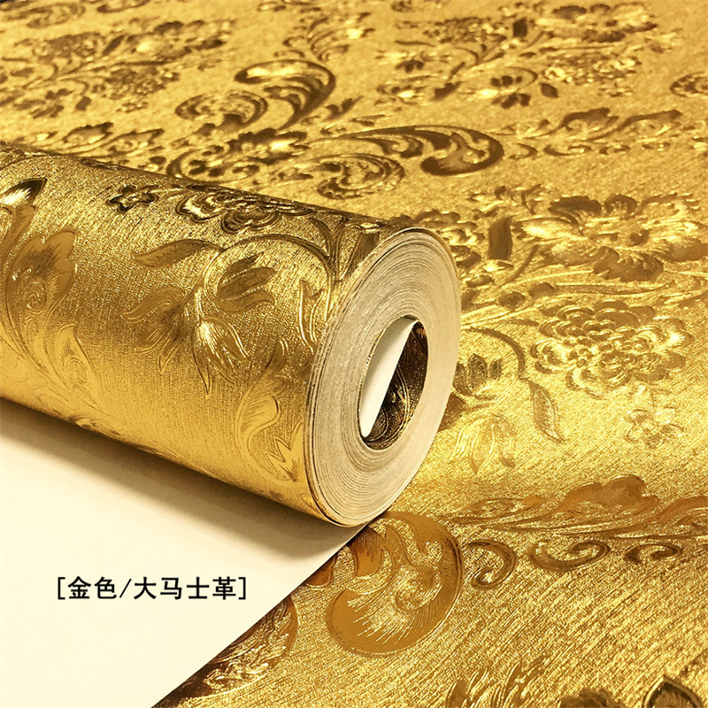 Wellyu обои New High-grade Gold Damascus Wallpaper Bar KTV Nightclub Ceiling Living Room TV Background Wall Reflective Wallpaper