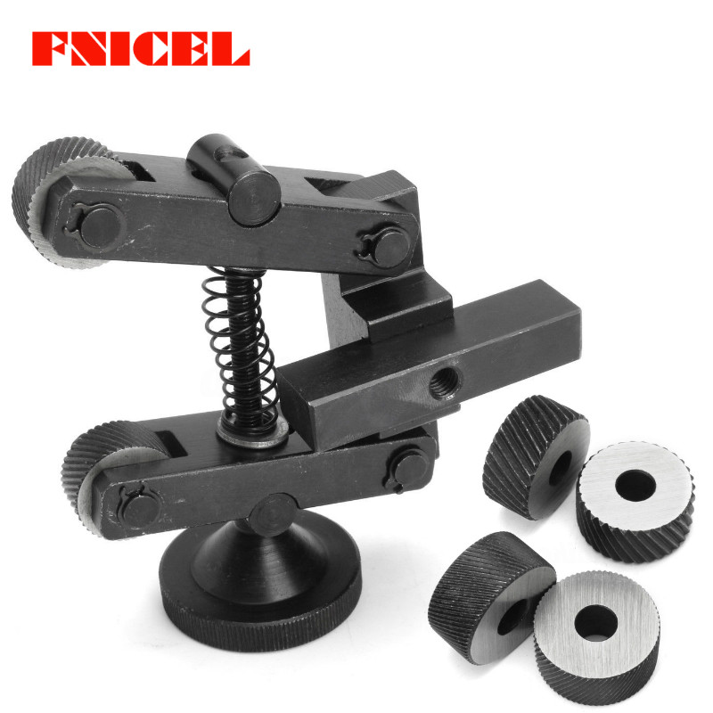 Professional Knurling Tool Holder Linear Knurl Tool Lathe Adjustable Shank Machine Tools With 6pcs CR15 Wheels