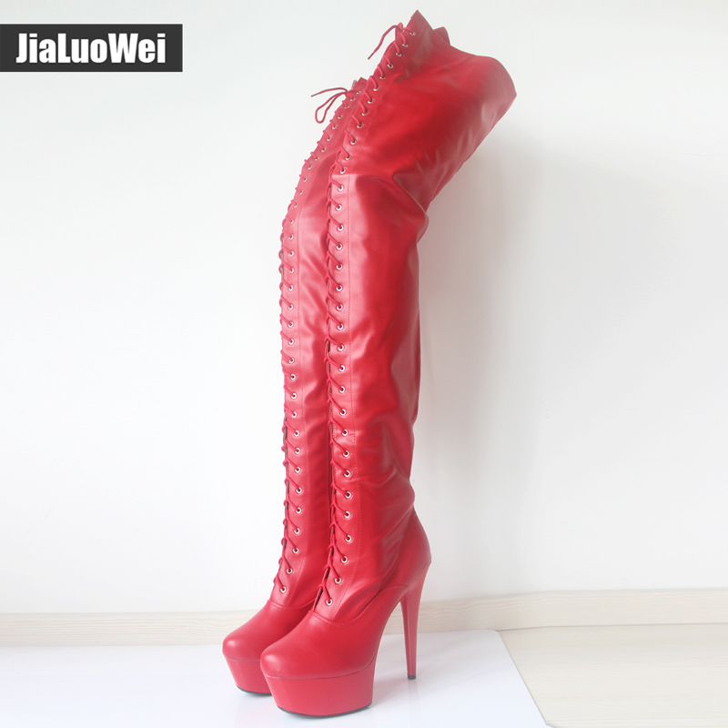 jialuowei 15cm High Heel Stiletto Platform Thigh High Black Red Latex Lace Up Stripper Boots Heels Sexy Feitsh Shoes Plus Size jialuowei women sexy fashion shoes lace up knee high thin high heel platform thigh high boots pointed stiletto zip leather boots