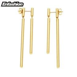 Enfashion изделия двойной длинные сережки-подвески роза серьги золотистого цвета Нержавеющаясталь серьги для Для женщин оптовая продажа