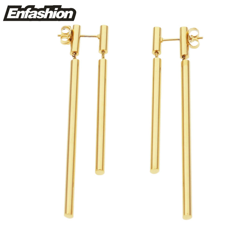 Enfashion Perhiasan Ganda Anting Panjang Menjuntai Anting-Anting Rose Gold warna Earings Stainless Steel Drop Earrings Untuk Wanita Grosir