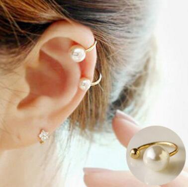 Ed 090 1 pieza 2018 versión coreana a la moda de la oreja de La Perla clip U-tipo no perforado oreja invisible clip mujer más hermosa joyería