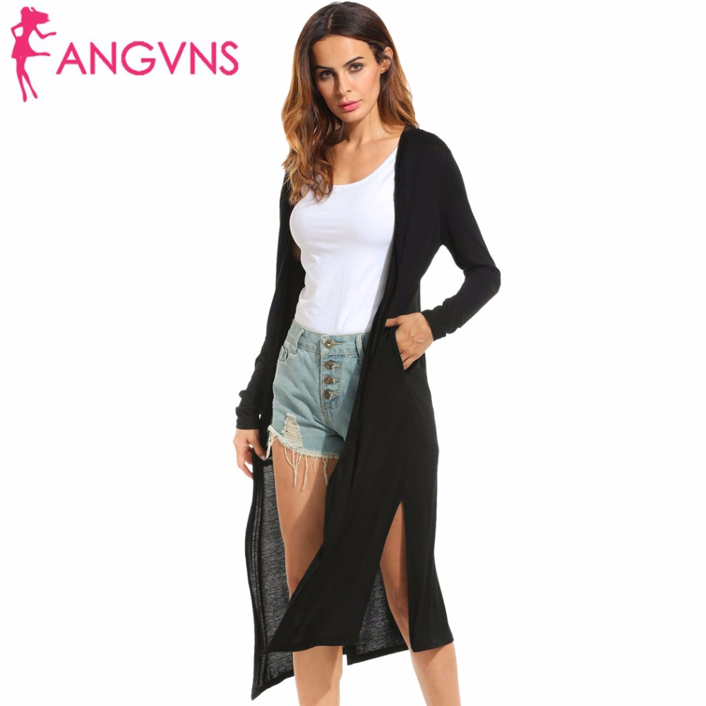 ANGVNS Cardigan 2017 Open Stitch Women Sweater Slim Lady Autumn Long Knitted Cardigans Tops Casual Side Split Maxi Cardigan