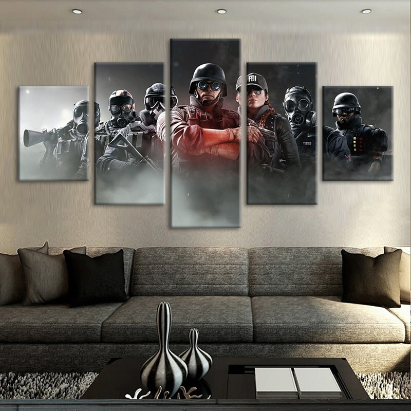 5 Piece Tom Clancy's Rainbow Six Siege Video Game Poster Canvas Art Oil Painting for Living Room Wall Decor 1