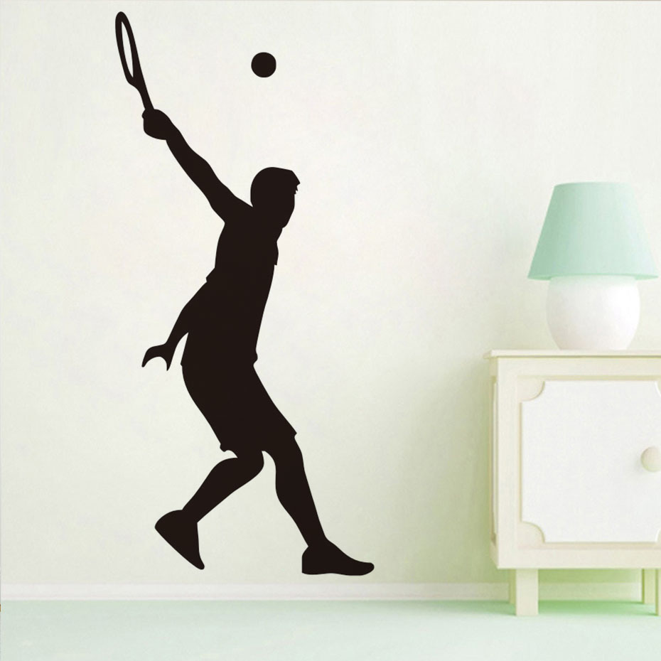 Home Decor Tennis Serve Wall Sticker Tennis Player Silhouette Vinyl Decals For Living Room Art Sticker Mural