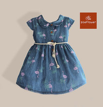 New Animal Swan Print Girl Dress Kids Clothing Children's Wear Girl Summer Sweet Dresses Toddler Princess Dress Girl Denim Dress
