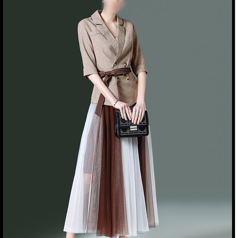 Womens Half Sleeve Blazer and Pleated Skirt Formal Office Long Skirt Suit for Women 2 Two Piece Skirt Set Summer Outfit