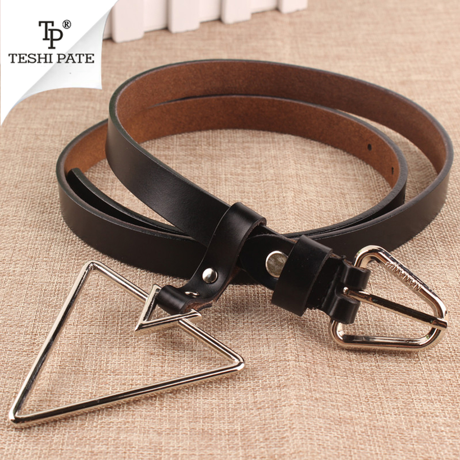 Womens Decorative Metal Triangle Button Buckle Fashionable Retro Leather Belt luxury brand TESHI PATE 2018 NEW