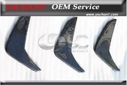 Z włókna węglowego OEM styl tylny zderzak Canard (3 sztuk) nadające się do 2008 2010 W204 C63 AMG w Listwy ozdobne od Samochody i motocykle na