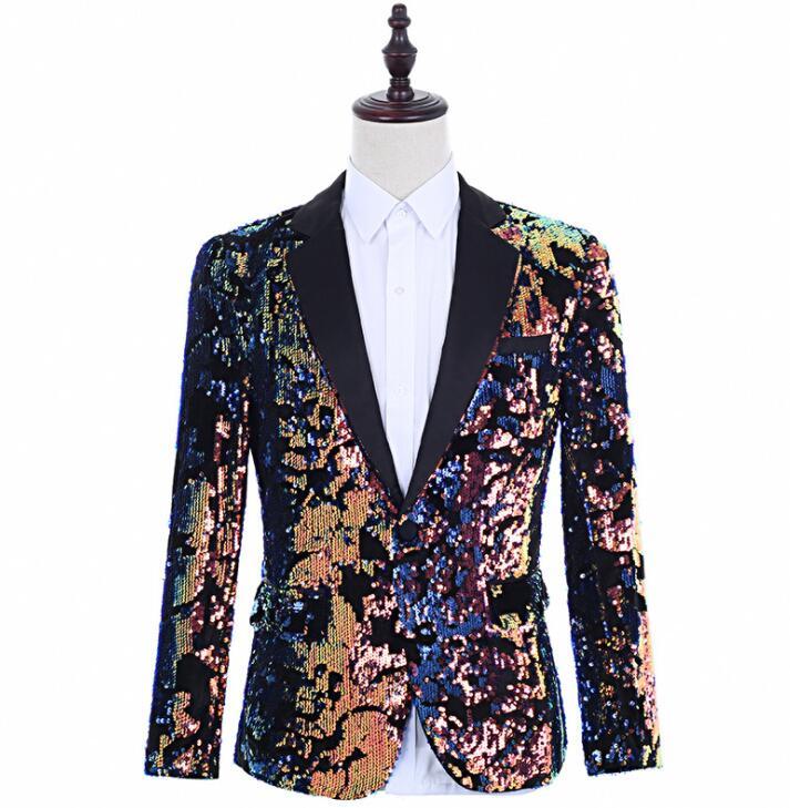 US $56.58 18% OFF|singers Flip Colorful sequins blazer men suits designs jacket mens stage clothes dance star style dress punk rock|Blazers| |