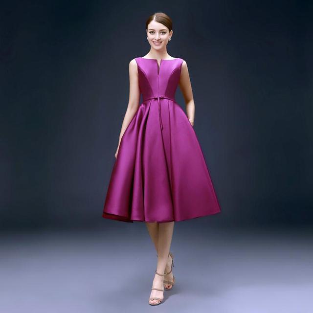 Nueva Moda 2017 vendaje formal Robe De Soirée partido largo medio Corto vestido de noche de color púrpura