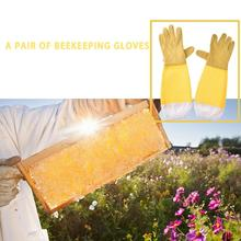 1 Pair Yellow Beekeeping Gloves Goatskin Bee Keeping Wear Resistant With Vented Beekeeper Long Sleeves