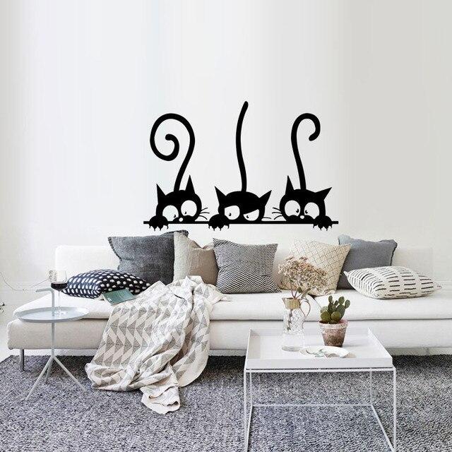 Lovely 3 Black Cute Cats Wall Sticker Moder Cat Wall Stickers Girls Vinyl Home Decor Cute Cat Living Room Children Room   3