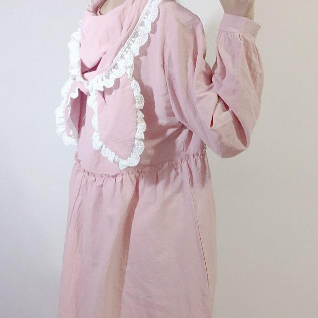 online shop 2018 japanese soft sister lace with cap dress autumn