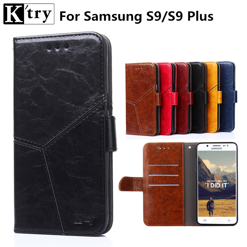 for Samsung Galaxy S9 case K'TRY Luxury Flip Cover PU Leather Case for samsung galaxy S9 S9 Plus cases card slots