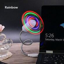 LUCOG Flexiable USB Fans Adjustable USB Gadget Mini LED Light USB Fans for PC Laptop Notebook
