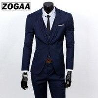 ZOGAA Men Dress Suits 5XL 4XL 2019 Business Slim Fit Wedding Groom SuitS Pure Color 3 Piece of Suits Plus Size Men Leisure Suits