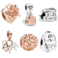 Fit Pandora Charm Bracelet Women Jewelry 1pc Free shipping Rose Gold Flower Key Lock Snowflake DIY Backpack Book Bead