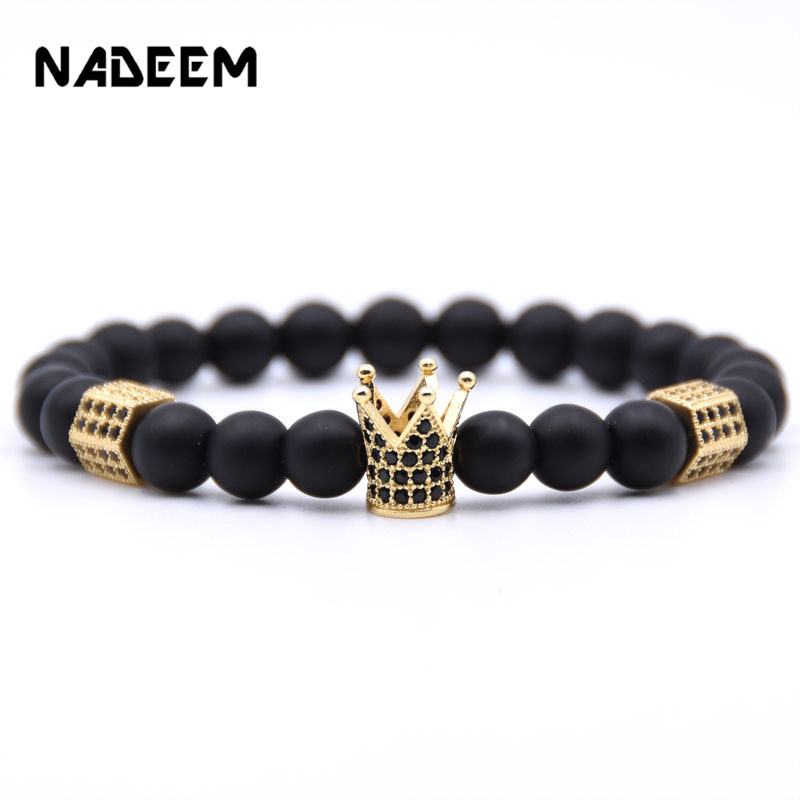 2019 New Trendy Matte Stone Pave CZ Imperial Crown And Hexagon Charm Bracelet Fo