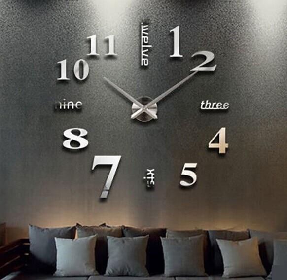 MEYA Home decoration Big Clock digital mirror wall clock Modern