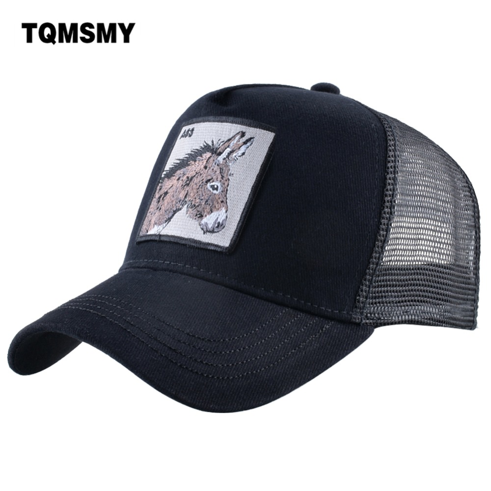 TQMSMY Men Summer Cotton Embroidery Animal Baseball Cap For Women Mesh Donkey Trucker Cap Hats For Men Gorras Casual Caps TDLV