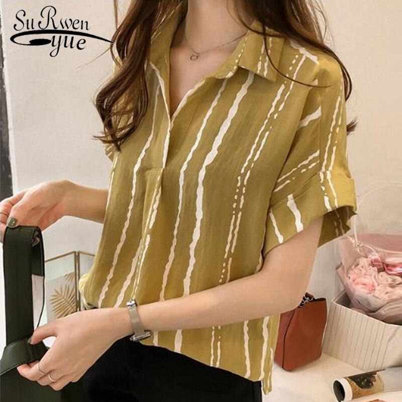 Summer plus size OL   blouses   ladies tops fashion women   blouses   2019 striped chiffon women   blouse     shirt   blusas feminias 0646 40