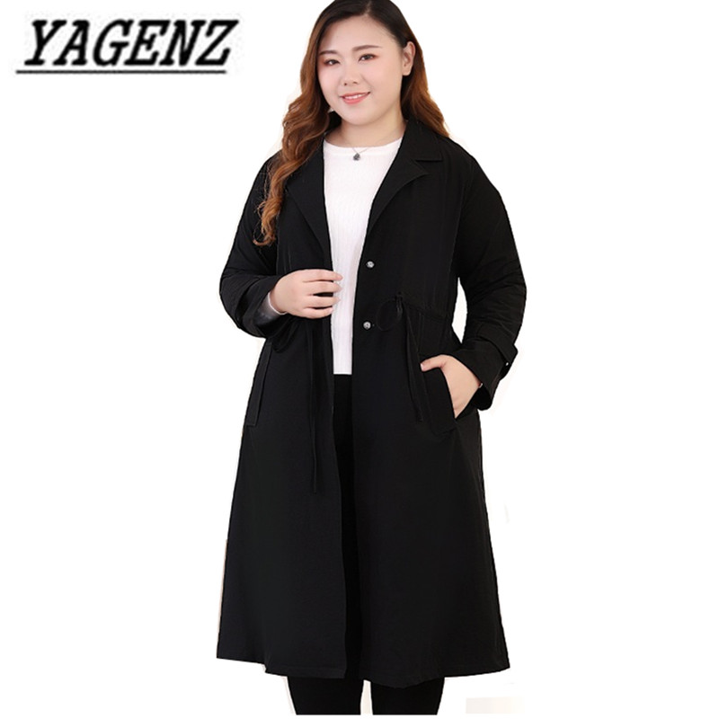 Oversized Women Long Windbreaker Coat 2018 New Autumn Loose Black Female   Trench   Coat Solid Casual Women Outerwear Clothing 10XL
